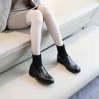 袜子鞋女皮鞋2018新款秋冬短靴女粗跟平底英伦复古气质袜靴黑色漆皮小皮鞋 TBP