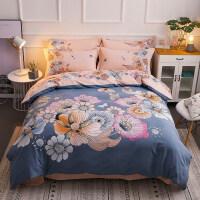 磨毛四件套全棉纯棉欧式床上用品简约1.8m床单网红冬季被套1.5m米