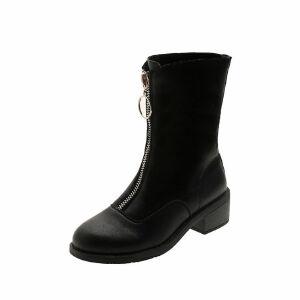 WARORWAR新品YM136-999秋冬欧美低跟鞋女士靴子切尔西中筒靴