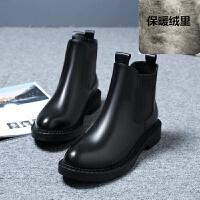 香港潮新款秋冬切尔西短靴平底厚底马丁靴英伦风及踝靴女靴子