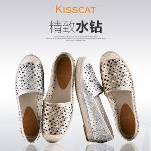 接吻猫时尚水钻一脚蹬懒人鞋女休闲镂空渔夫鞋DA76492-51