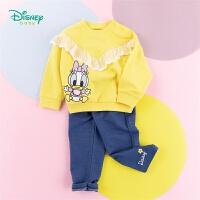 迪士尼Disney童装 女孩运动卫衣套装唐老鸭卡通印花上衣针织仿牛仔休闲裤2件套201T1080