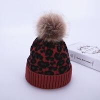 儿童帽子冬季豹纹宝宝毛线帽6个月-2岁1大毛球潮男女童婴儿针织帽 酒红色 豹纹毛线帽 均码