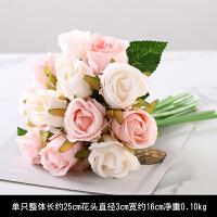 小清新12头把束仿真玫瑰花假花绢花艺装饰餐桌婚庆新娘手捧花束