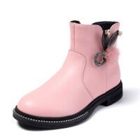女童靴子秋冬季韩版百搭加绒小短靴女孩大童公主鞋真皮儿童马丁靴