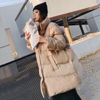 立领羽绒女中长款宽松冬季新款韩版收腰加厚茧型棉衣外套