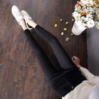 高腰黑色加绒加厚牛仔裤女冬季韩版大码显瘦带绒外穿小脚