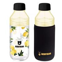 杯具熊时尚柠檬树便携玻璃杯420ml