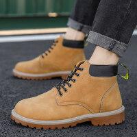马丁靴男高帮冬季加绒加厚棉鞋潮流百搭男大黄工装鞋子雪地短靴子