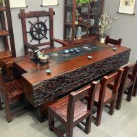 【限时7折】豫见美农老船木茶桌新中式实木家具船木茶桌椅组合功夫茶几客厅阳台茶艺桌