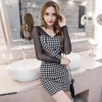 2018春装新款性感拼接透视包臀修身千鸟格长袖连衣裙女装一件
