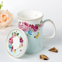 创意陶瓷杯子带过滤水杯办公室泡花茶杯田园骨瓷咖啡马克杯带盖勺SN8102 秘密花园茶隔盖杯(送勺)