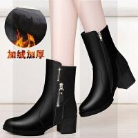 加绒短靴女粗跟女鞋2018新款冬季中跟女士皮鞋黑色靴子保暖中筒靴SN5419 34 女款
