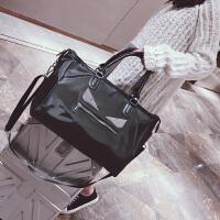 短途旅行包女手提韩版大容量行李袋轻便简约出差旅游运动健身包男 黑色