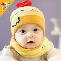 婴儿帽子加绒0-3-6-12个月男童女宝宝帽子秋冬季新生儿保暖毛线帽yly 套帽