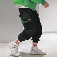 工装宽松牛仔裤潮宽松街头hiphop纯色加厚大口袋九分束脚休闲裤 黑色