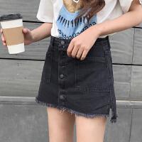 牛仔半身裙裤2018夏季新款韩版高腰毛边字黑牛仔裙半身裙裤裙