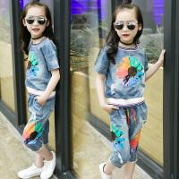 女童休闲套装夏新款儿童夏装中大童短袖牛仔上衣七分裤两件套