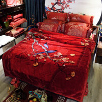 婚庆毛毯冬季加厚珊瑚绒毯子男女结婚双层大红色单人保暖床单被子 200cmx230cm
