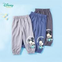 迪士尼Disney童装 男童裤子夏轻薄凉爽防蚊裤2020年夏季新品儿童米奇印花长裤中小童空调裤
