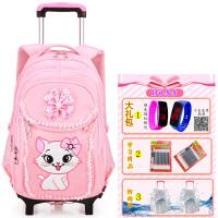 女童小学生拉杆书包1-3-6年级可爱女孩粉色公主三轮爬楼梯6-12岁