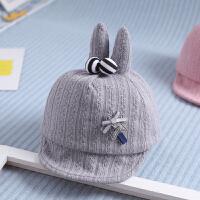 婴儿帽子女宝宝秋季3-6个月12公主可爱0一1岁宝宝韩版鸭舌帽女2潮 浅灰色 一对彩球针织 均码