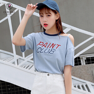 欧若珂    2018新款韩版拼色蕾丝肩带漏肩休闲绣花字母T恤女