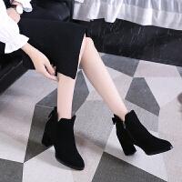 小码短靴31 粗跟女鞋高跟秋冬英伦风短筒磨砂ins黑色马丁靴SN1446 黑色