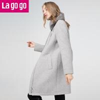 【清仓3折价199.8】Lagogo/拉谷谷2019你那冬季新款时尚拉链长袖呢子大衣