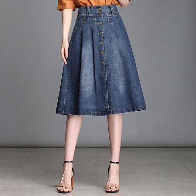 牛仔半身裙女中长款牛仔裙女夏2018新款高腰牛仔字裙伞裙百褶裙