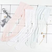 儿童连裤袜夏季网眼超薄款女孩跳舞蹈粉白蓝色蝴蝶结暗纹打底丝袜
