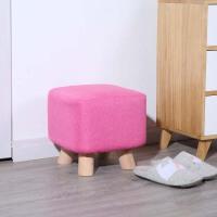 布艺换鞋凳实木沙发凳创意方凳家用小凳子时尚搭脚凳客厅茶几凳 玫红色 高28 宽28
