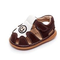 真皮儿童叫叫凉鞋 婴儿牛筋底防滑凉鞋 男女宝宝学步凉鞋
