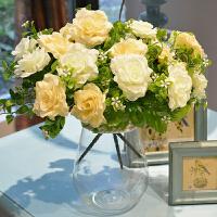 绢花仿真干花 花瓶花艺套装 玻璃摆件电视柜茶几餐桌