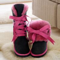 真皮高筒皮毛一体雪地靴女加绒加厚棉鞋2018新款冬季百搭学生韩版SN8217