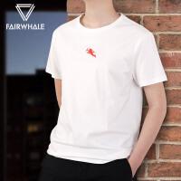 【秒杀直降 到手价98元】马克华菲短袖T恤男2019夏季新款圆领印花白色半袖衫韩版体恤上衣