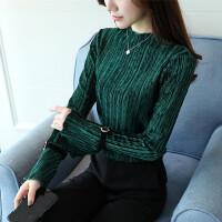 金丝绒长袖T恤女2018秋季新款韩版半高领上衣冬百搭喇叭袖打底衫