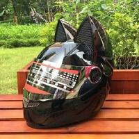 猫耳朵带角摩托车头盔全盔个性酷犄角四季男女通用越野机车防雾