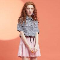 【全场2件2.5折,到手价:34.8】美特斯邦威格子衬衫女春装新款小清新学生衬衣可爱抽绳韩版打底衫