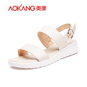 奥康女鞋2018夏季新款松糕坡跟真皮凉鞋女厚底休闲女凉鞋