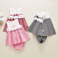 女童裙子套装2019夏装新款宝宝吊带连衣裙0-1岁2婴儿公主裙