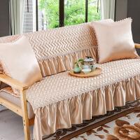 夏季防滑沙发垫纯色布艺坐垫罩靠背巾全盖简约现代通用全包�f能套