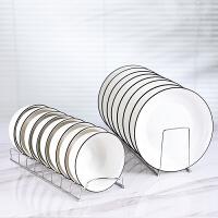 不锈钢碗碟收纳盘子沥水架厨房置物架放碗架碗盘收纳架托架kb6
