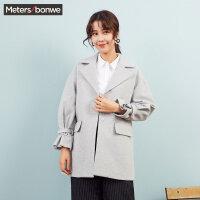 【1件2折到手价:99.8】美特斯邦威毛呢大衣女长款韩版冬装新款蝴蝶袖外套潮商场款
