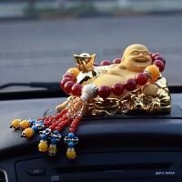 小轿车子上车载创意沙金弥勒佛佛像汽车内饰品摆件装饰用品