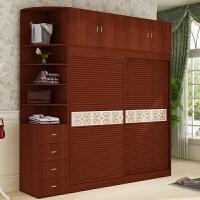 衣柜推拉门简约现代卧室衣橱室整体经济型组装实木质2门整体定制 +边柜 2门 组装