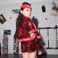 儿童演出服新款亮片爵士舞嘻哈街舞台套装女孩少儿舞蹈表演服装潮 红色 仅外套T1002