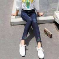 弹力牛仔裤女夏季2018新款韩版显瘦长裤夏装紧身绣花小脚裤子
