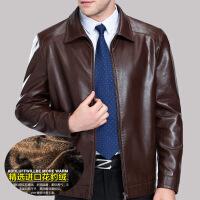 头层山羊皮 皮衣男翻领加绒外套中老年秋冬男装 冬装皮夹克