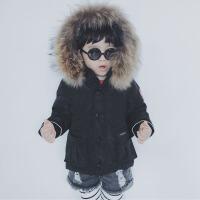 定制款高端童装90%白鸭绒高品质貉子真毛领全家鹅亲子羽绒服